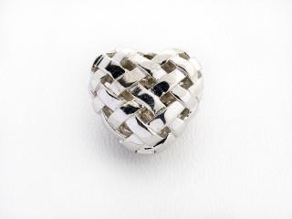 On Wire lås flettet hjerte 16 x 18 mm blank sølv