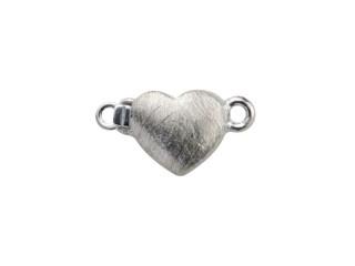 Lås med indstik hjerte 7 x 8 mm ridset sølv