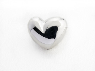 On Wire lås hjerte 16 x 18 mm blank sølv