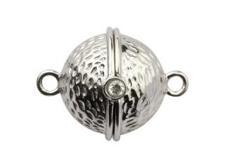 Magnet lås rund 13 mm ruflet sølv med syn. zirkon