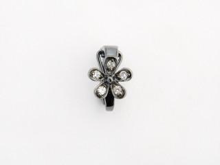 Dream On clips m. blomst i sort rhodineret sølv m. syn. zircon.