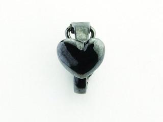 Dream On clips m. hjerte i sort rhodineret sølv