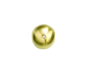 On Wire lås rund 11 mm mat forgyldt sølv med syn. zirkon på den ene side