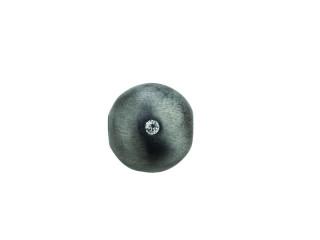 On Wire lås rund 11 mm sort rhodineret med syn. zirkon på den ene side