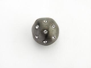 On Wire lås rund 13,5 mm mat sort rhodineret sølv med syn. zirkon