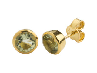Aia ørestik 6 mm forgyldt sølv med facetteret prasiolit
