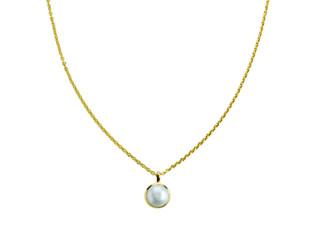 Aia halskæde 10 mm forgyldt sølv med ferskvandsperle