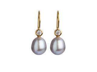 Forgyldt sølv ørering m. grå perle 8,5-9 mm og zirkon