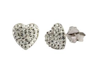 Sølv ørestik 7,5 x 7,5 mm hjerte med hvide sten
