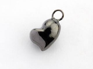 Dream On vedhæng 10 x 8 mm sort rhodineret sølv hjerte