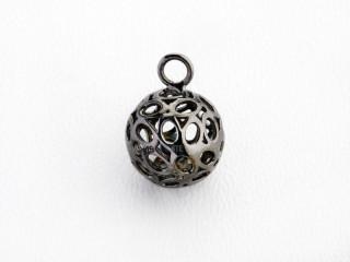 Dream On vedhæng 12 mm sortrhodineret sølv kugle m. mønster