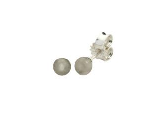 Sølv ørestik 4 mm blank grå månesten