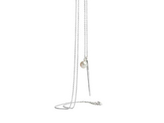 Halskæde 80 cm sølv med stav og hvid ferskvandsperle