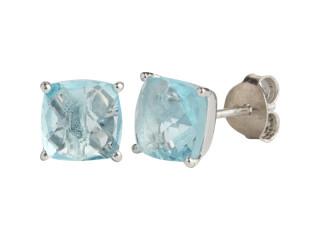 Nola ørestik sølv med 8 mm facetteret blå sten