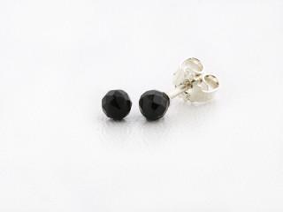 Sølv ørestik 4 mm facetteret onyx