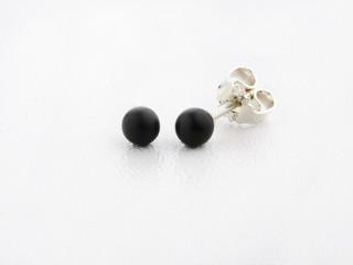 Sølv ørestik 4 mm mat onyx
