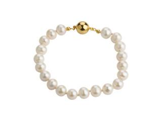 Perlearmbånd med hvide ferskvandsperler 7,5-8 mm og magnet lås, sølv