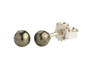Sølv ørestik 4 mm blank pyrit