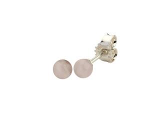 Sølv ørestik 4 mm blank rosaquartz